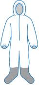 5XL P261 White - Zipper Front, Elastic Wrist & Ankles, Boot & Hood, Bulk packed (25/Pkg)