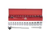 """16pc 1/2"""" Ratchet Socket Box Set SAE - Chrome, Martin #MS16K"""