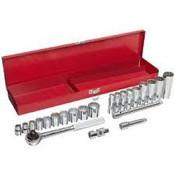"3/8"" Drive Standard & Deep Chrome Socket Set, 22 Pieces in Metal Toolbox, Martin Sprocket #B22K"