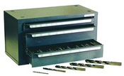 96 Piece Assortment, Type 175-AG, Jobber Length General Purpose Fractional Drill Bits with 3 Drawer Metal Cabinet