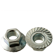 #10-24 Hex Flange Nuts Serrated Coarse Case Hardened Zinc Cr+3 (100/Pkg.)