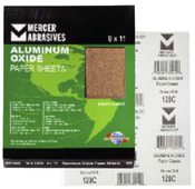 Aluminum Oxide Sandpaper Sheets - 9 x 11 - A-Weight, Grit: 280A, Mercer Abrasives 202280A (100 Sheets/Box)