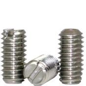 "#10-32x3/8"" Slotted Set Screw Cup Point Fine 18-8 Stainless (100/Pkg.)"