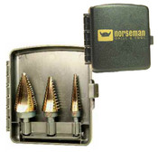 3 Piece TiN Coated Type 78-AGN 3-Flatted Shank Step Drill Set - Blister Pak - 1/8 - 1/2, 3/16 - 1/2, 7/8 & 1-1/8 ( #1, #4,#11 ), Norseman Drill #NDT-01831