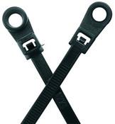 "8"" #10 UV Black Mounting Hole Cable Ties 50 lb. (100/Bag)"