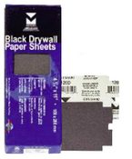 "Black Drywall Paper Sheets - 4-3/16"" x 11"", Grit/ Weight: 180D, Mercer Abrasives 245180 (100/Pkg.)"