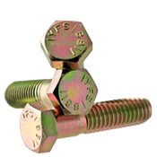"3/8""-16x4-1/4"" (PT) Hex Cap Screws Grade 5 Coarse Med. Carbon Zinc Yellow CR+6 (225/Bulk Pkg.)"