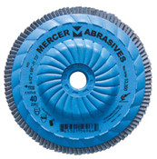 "Type 27 High Density Trimmable Zirconia Flap Discs - 4-1/2"" x 5/8"" - 11, Grit: 40, Mercer Abrasives 262T04 (10/Pkg.)"