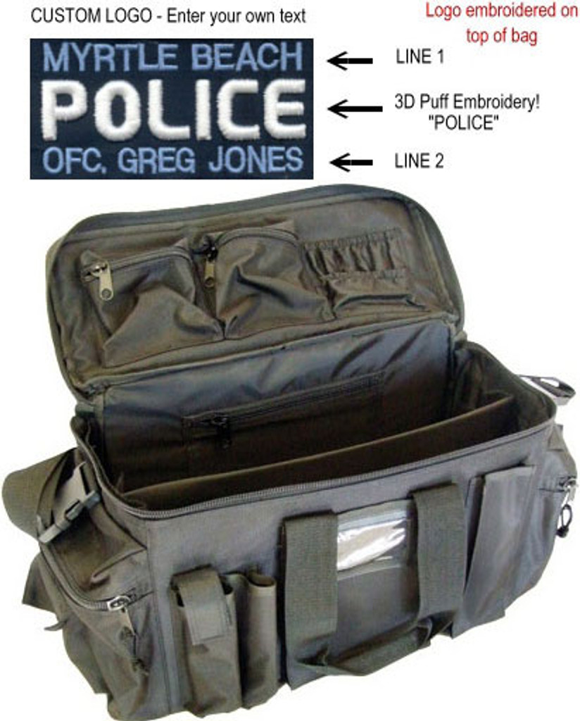 Strong Leather Custom Police Deluxe Gear Bag (3D Puff Embroidery)