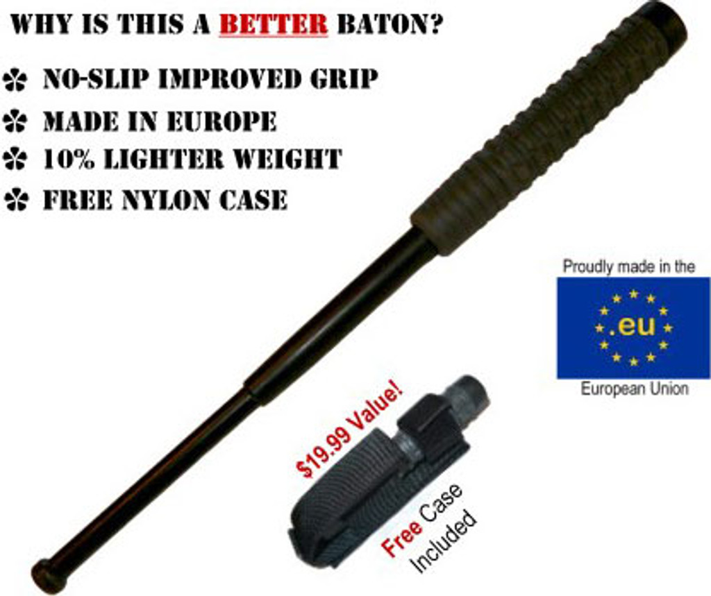 """16"""" Collapsible Baton w/ Hard Case - CHROME FINISH (MADE IN EUROPE)"""