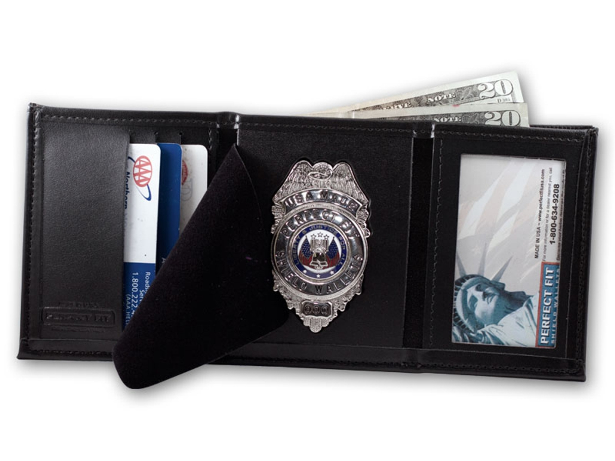 Perfect Fit Trifold Badge Wallet w/ID and Credit Card ...