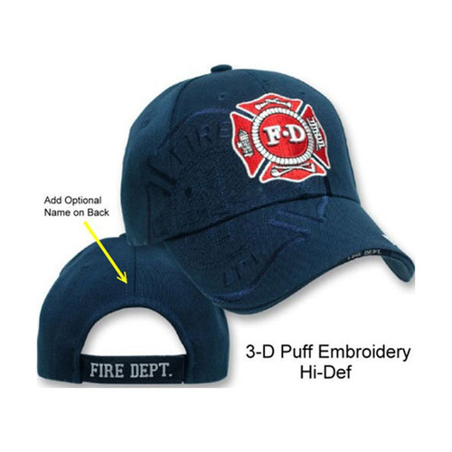 Fire Department Logo SHADOW PUFF HAT (3-D High Definition Embroidery!) (NAVY)