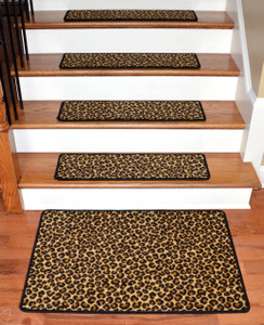 "Dean Premium Carpet Stair Treads - Leopard 30"" x 9"" (Set of 13) Plus a Matching 2' x 3' Landing Mat"