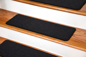 "Dean DIY Peel and Stick Serged Non-Skid Carpet Stair Treads - Midnight Black (13) 27"" x 9"" Runner Rugs"
