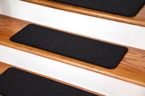 "Dean DIY Peel and Stick Serged Non-Skid Carpet Stair Treads - Midnight Black (13) 27"" x 9"" Runner Rugs"