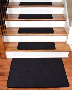 "Dean Serged DIY Carpet Stair Treads 27"" x 9"" - Midnight Black - Set of 13 Plus a Matching 2' x 3' Landing Mat"