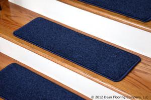 "Dean Carpet Stair Treads 27"" x 9"" Navy Blue Plush (Set of 13)"