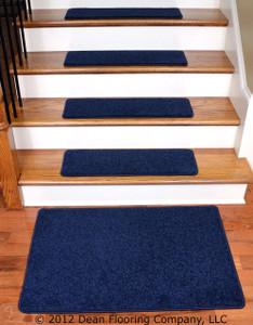 """Dean Carpet Stair Treads 27"""" x 9"""" - Navy Blue PLUSH (13) plus a 2' x 3' Mat"""