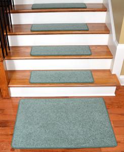 """Dean Carpet Stair Treads 27"""" x 9"""" Ocean Mist Green Plush (13) Plus 2' x 3' Mat"""