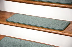 """Dean Carpet Stair Treads 27"""" x 9"""" Ocean Mist Green Plush (Set of 13)"""