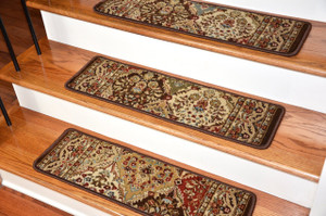"Dean Premium Carpet Stair Treads - Panel Kerman Chocolate Rug Runners 31""W Set of 13"