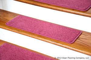 "Dean Carpet Stair Tread Rugs 27"" x 9"" Pink Plush (Set of 13)"