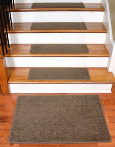 "Dean Flooring Company Rich Earth Plush Carpet Stair Tread Rugs 27"" x 9"" (13) Plus Landing Mat"