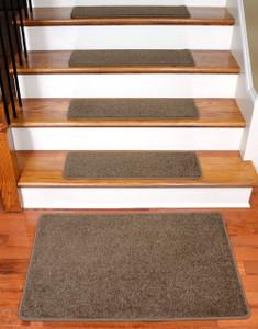 """Dean Flooring Company Rich Earth Plush Carpet Stair Tread Rugs 27"""" x 9"""" (13) Plus Landing Mat"""