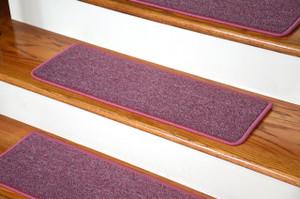 "Dean DIY Peel and Stick Serged Non-Skid Carpet Stair Treads - Rose Petal (13) 27"" x 9"" Runner Rugs"