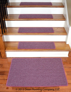 "Dean Serged DIY Carpet Stair Treads 27"" x 9"" - Rose Petal - Set of 13 Plus a Matching 2' x 3' Landing Mat"