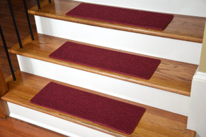 "Dean DIY Carpet Stair Treads 23"" x 8"" - Red - Set of 13 Plus Double-Sided Tape"