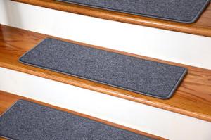 "Dean DIY Peel and Stick Serged Non-Skid Carpet Stair Treads - Steel Gray (13) 27"" x 9"" Runner Rugs"