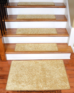 "Dean DIY 30"" x 9"" Premium Carpet Stair Treads and 2' x 3' Mat - Color: Softique Straw"