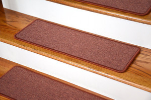 "Dean DIY Peel and Stick Serged Non-Skid Carpet Stair Treads - Terra Cotta (13) 27"" x 9"" Runner Rugs"