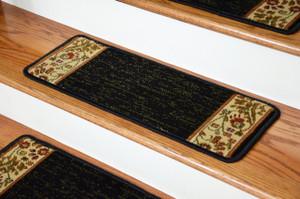 "Dean Premium Carpet Stair Treads - Talas Floral Black (Set of 13) 31""W"
