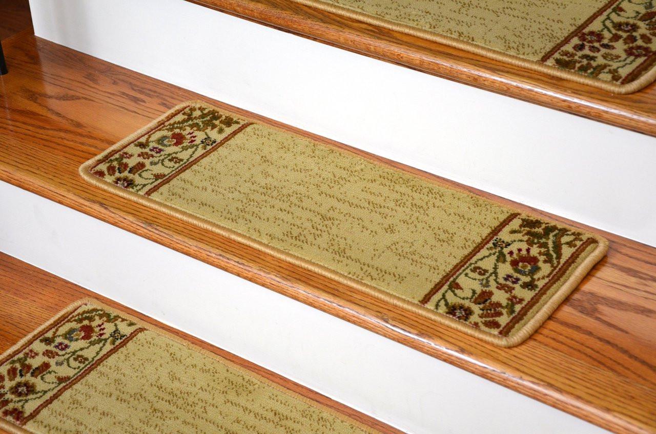 Dean Premium Carpet Stair Treads Talas Floral Beige Set Of 13 Dean Stair Treads