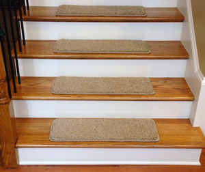 """Dean Premium Serged DIY Carpet Stair Treads 27"""" x 9"""" Barley 70 Oz with Double-Sided Tape Included"""