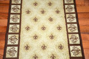 "Beige Fleur-De-Lys Carpet Runner Rug 31""W - Purchase By the Linear Foot"