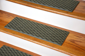 "Dean Indoor/Outdoor Pet Friendly Tape Free Non-Slip Carpet Stair Step Treads - Tybee Island Green 23"" x 8"" (15)"