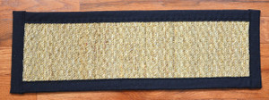 Dean Non-Slip Seagrass Beige Natural Fiber Carpet Stair Treads - Natural/Black (15) PLUS Tape