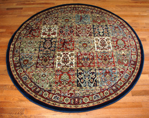 """5' 3"""" Round Area Rug - Panel Red"""