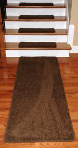 "Dean Premium Serged DIY Carpet Stair Treads 27"" x 9"" Timberline 70 Oz (13) PLUS a Matching 6' Runner"