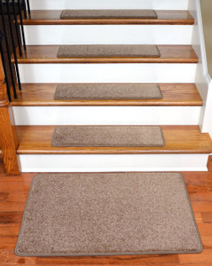 """Dean Serged DIY 27"""" x 9"""" Imperial Carpet Stair Treads (13) with Landing Mat - Color: Cafe"""