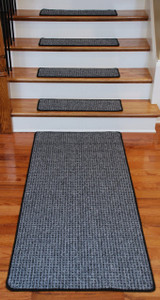 Washable Non-Skid Carpet Stair Treads - Silvered Sky (13) PLUS a Matching 5' Runner