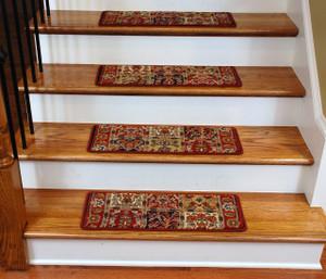 Dean Premium Carpet Stair Treads - Panel Red 13 Pack