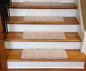 """Dean Premium Serged DIY Carpet Stair Treads 27"""" x 9"""" Pale Straw 70 Oz (13) with Double-Sided Tape Included"""