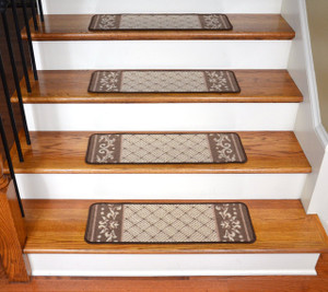 Dean Washable Non-Skid Carpet Runner Rug Stair Step Cover Treads - Caramel Scroll Border (13)