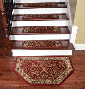 "Dean Premium Carpet Stair Treads - Classic Keshan Claret 31"" W (Set of 15) Plus a Matching Landing Hearth Mat 27"" x 39"" (2x3)"