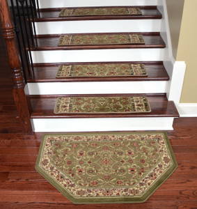 "Dean Premium Carpet Stair Treads - Classic Keshan Sage Green 31"" W (Set of 15) Plus a Matching Landing Hearth Mat 27"" x 39"" (2x3)"