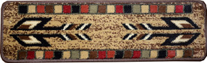 "Dean Non-Slip Pet Friendly Carpet Stair Step Cover Treads - Santa Fe Beige 31""W (15) Southwestern Lodge Cabin Style Rugs"